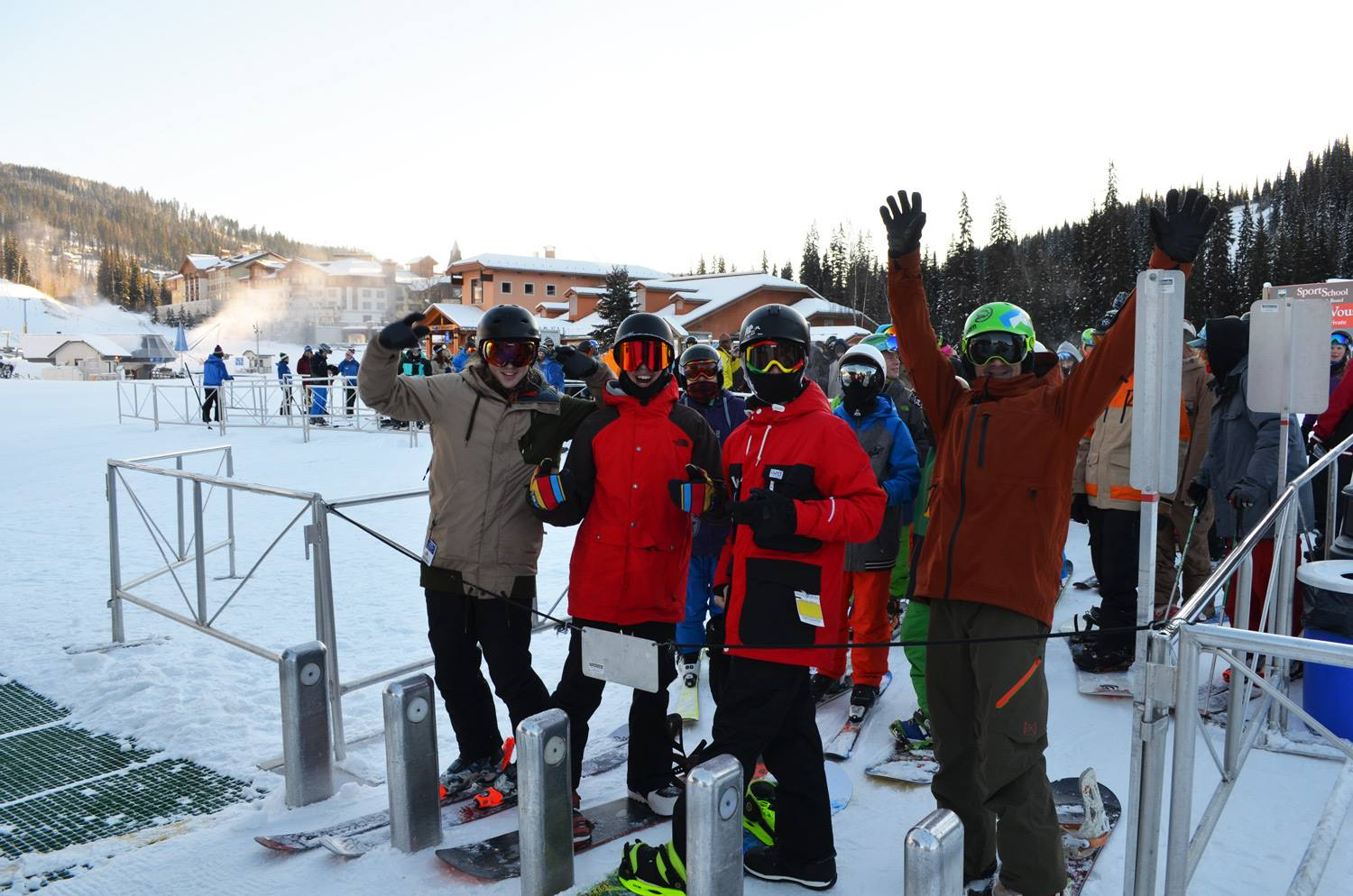 BIG SMILES FOR A BIG OPENING: Bryn, Ty, Adam and Dom claimed first chair. - Photo by TSP