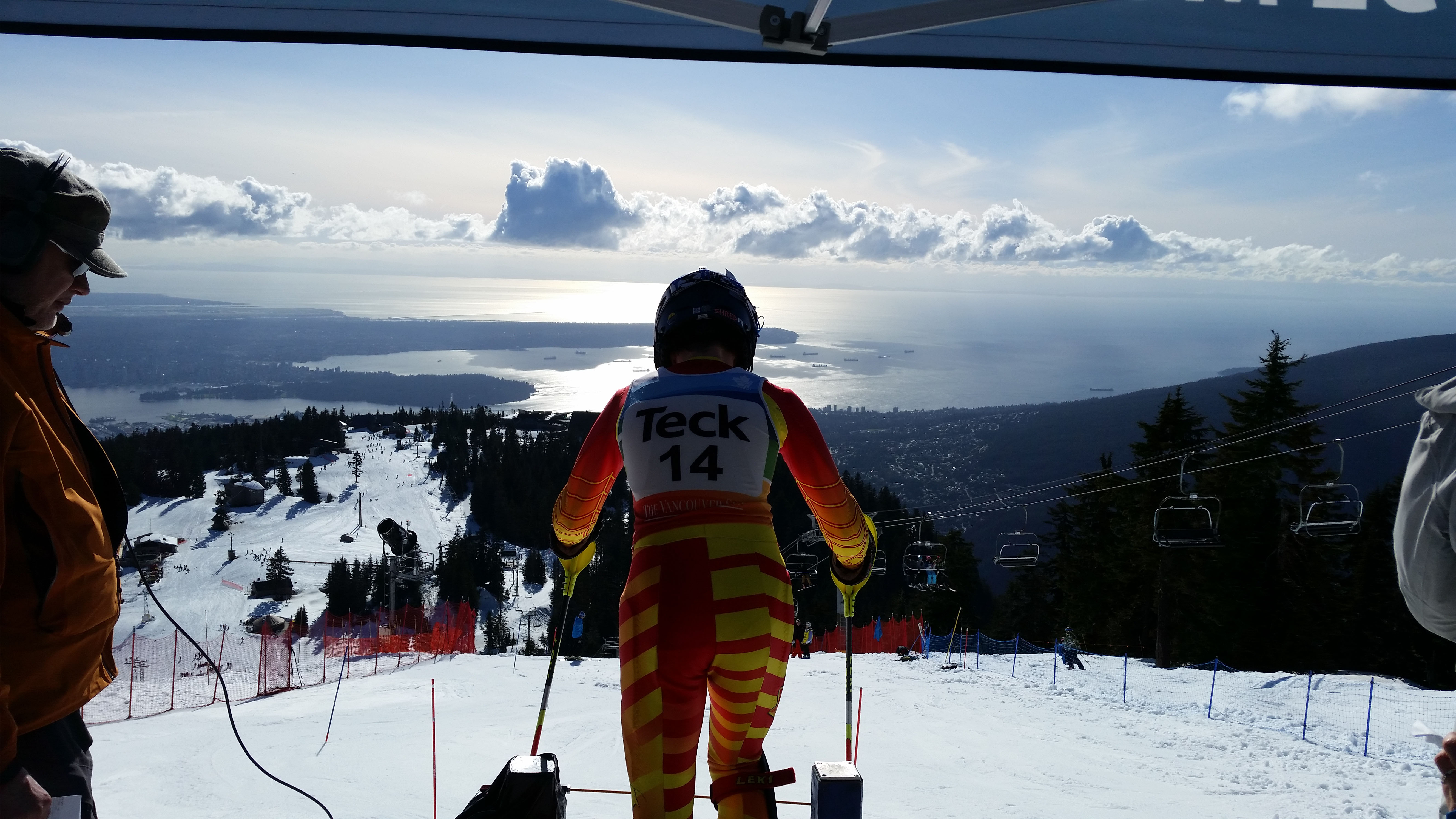 Josh Jacoby stands in the start gate at Grouse Mountain. - Photo Submitted