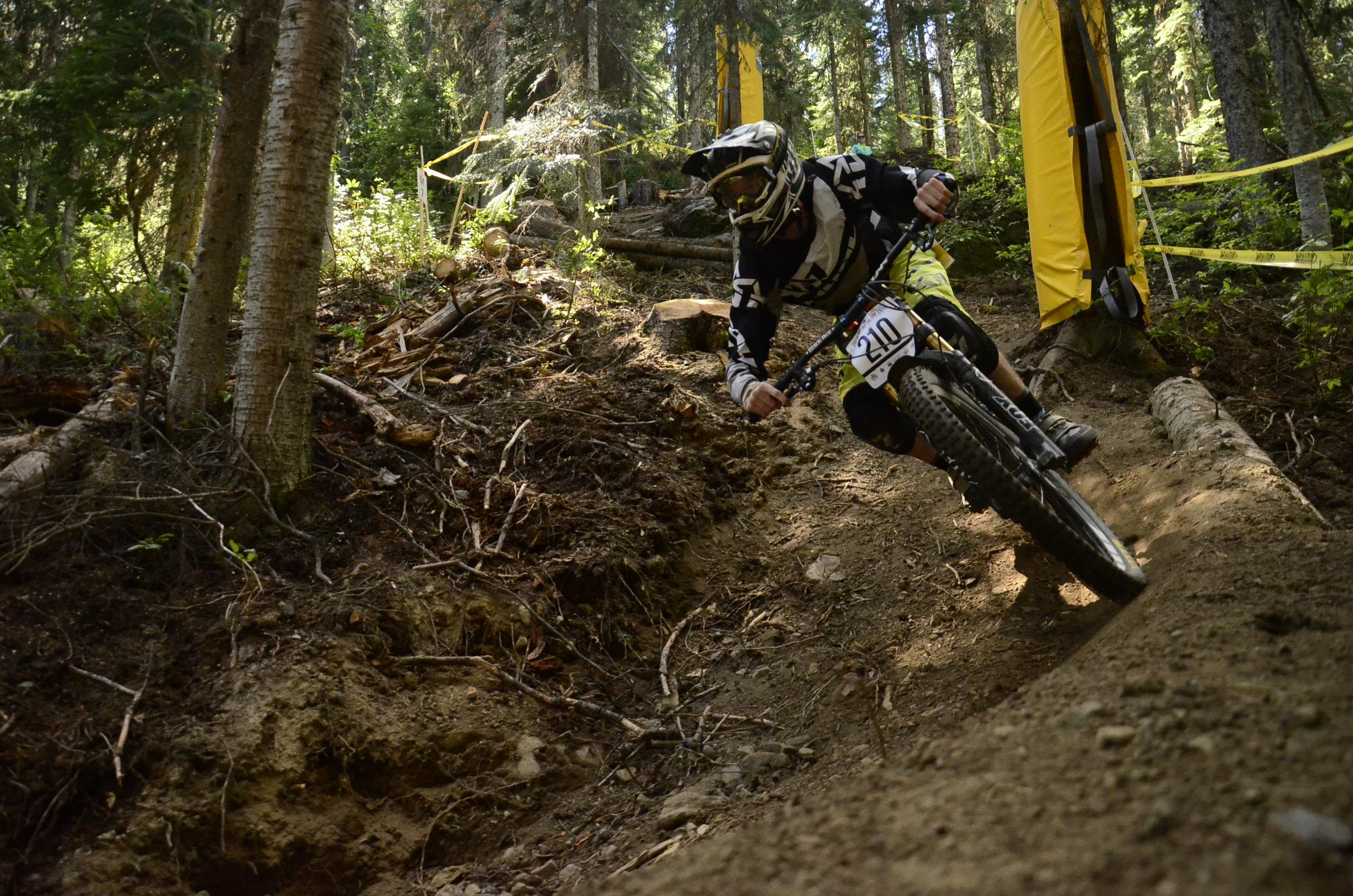 Rider Cam Quadrelli takes a hard turn down the new Sun Peaks course. - Photo Jamie Shinkewski