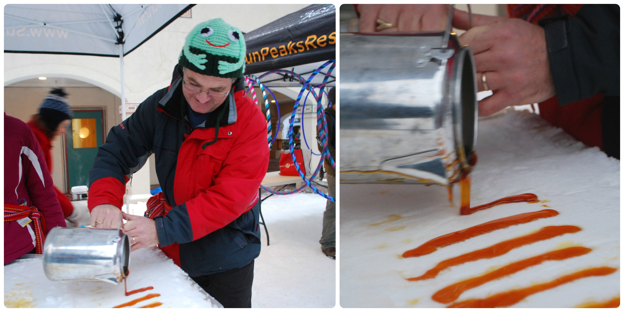 Eric Villeneuve from l'Association francophone de Kamloops pours maple syrup on snow for a delicious traditional winter treat.